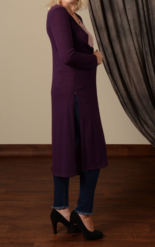 Hacci Long Cardigan with side slits