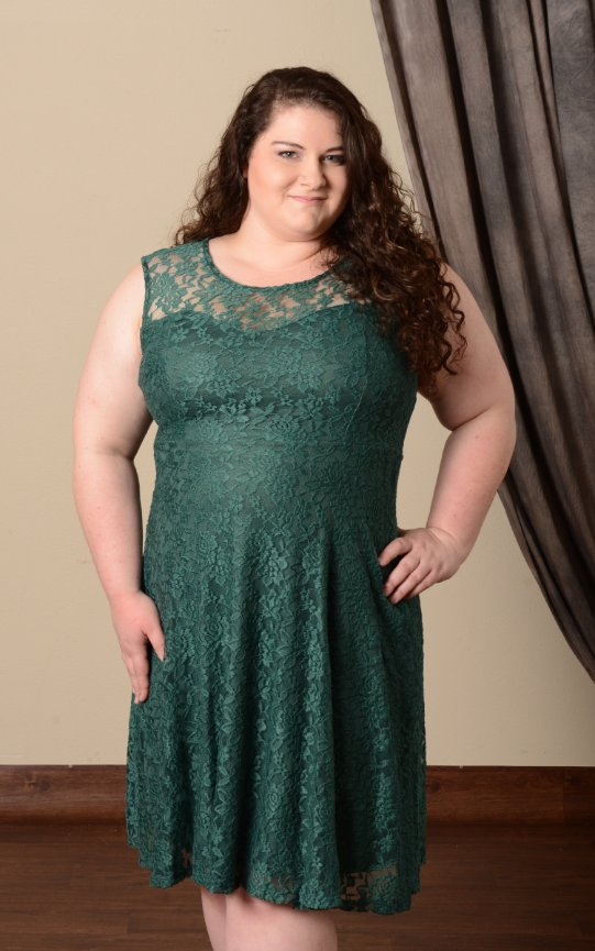 Lace Fit and Flare Dress  - Plus