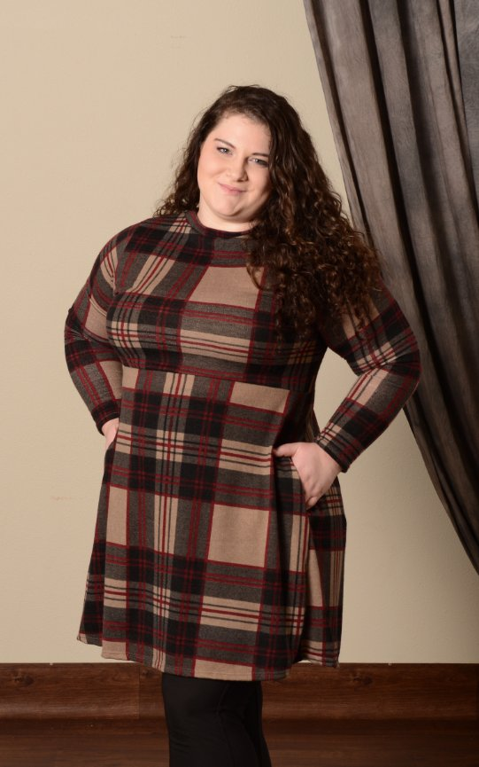 Plaid Sweater Dress - Burgundy