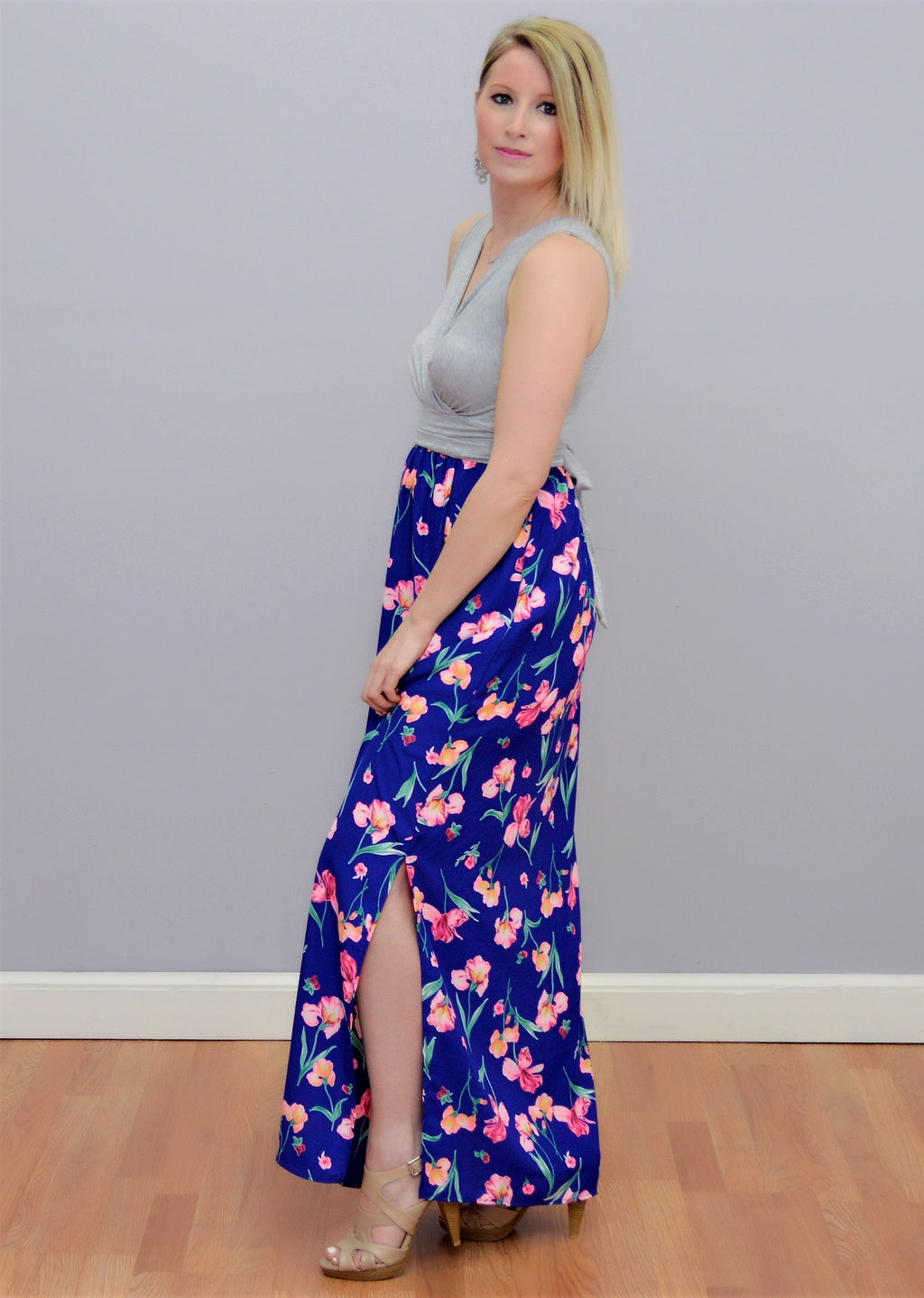 Bria Bella & Co - Gray & Royal Floral Maxi