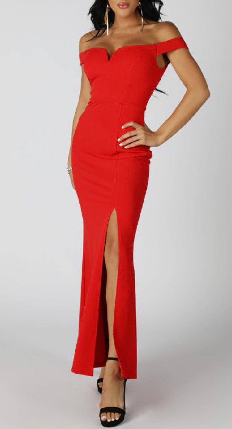 Off-Shoulder Front Slit Dress - Red