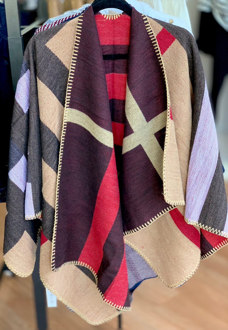 Heavyweight Reversible Plaid Poncho