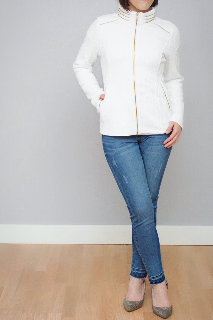 White Zipper Detail Jacket