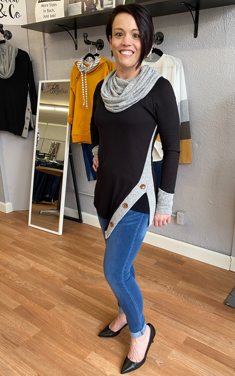 Cowl Neck Split-Hem Sweater