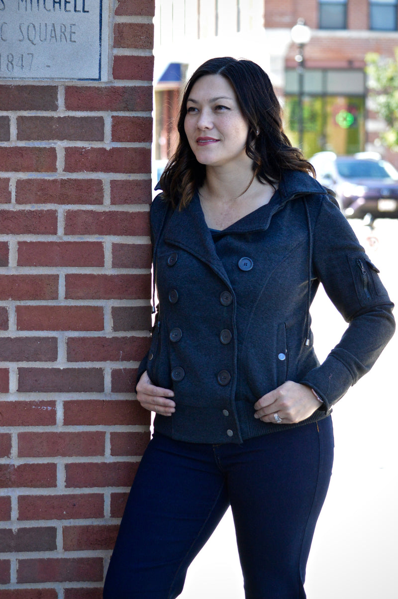 Bria Bella & Co - Charcoal Double Breasted Jacket