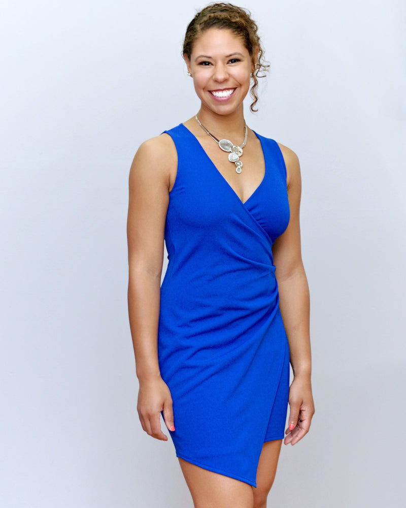 Royal Blue Asymmetrical Wrap Dress