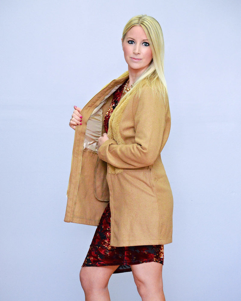 Fur-Paneled Dress Coat