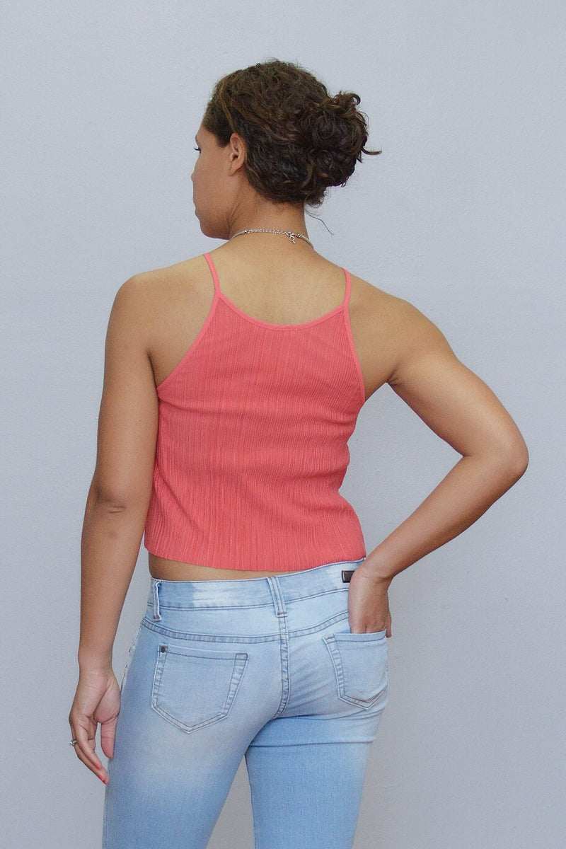 Bria Bella & Co - Coral Ribbed Crop Top