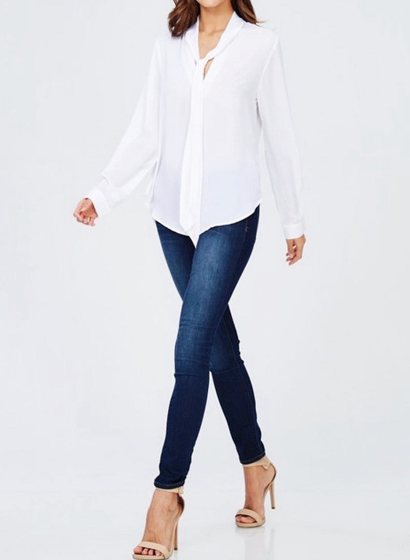Bria Bella & Co - Tie Collar Chiffon Top