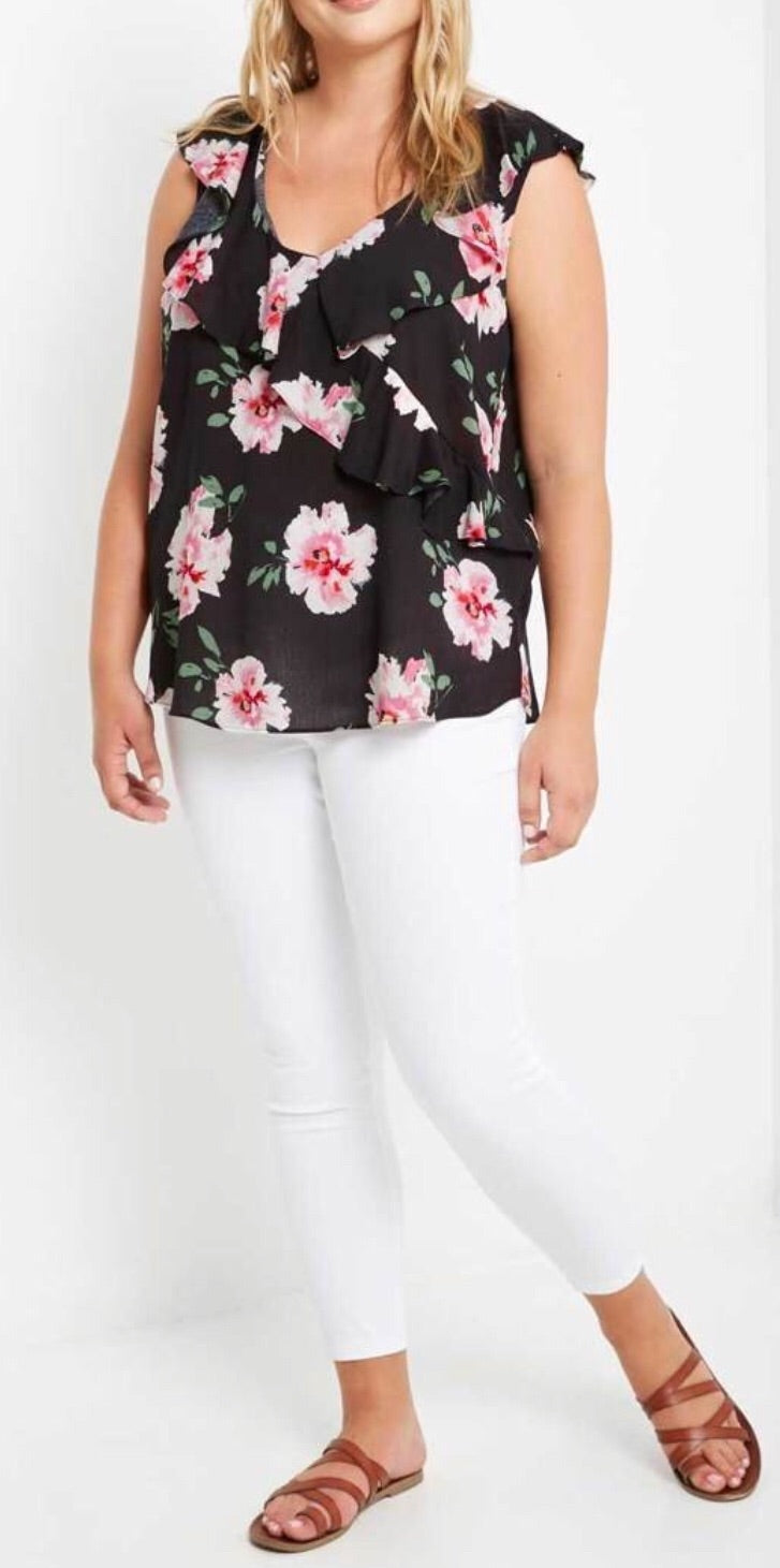 Ruffled V-Neck Flower Top