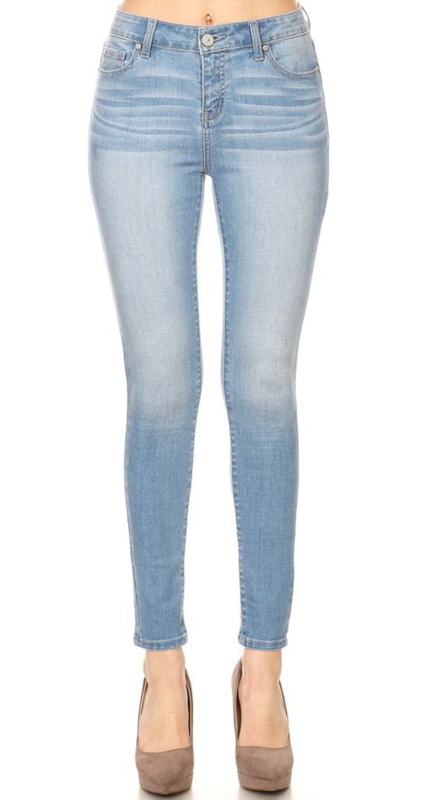 Light Wash Mid-Rise Jeans