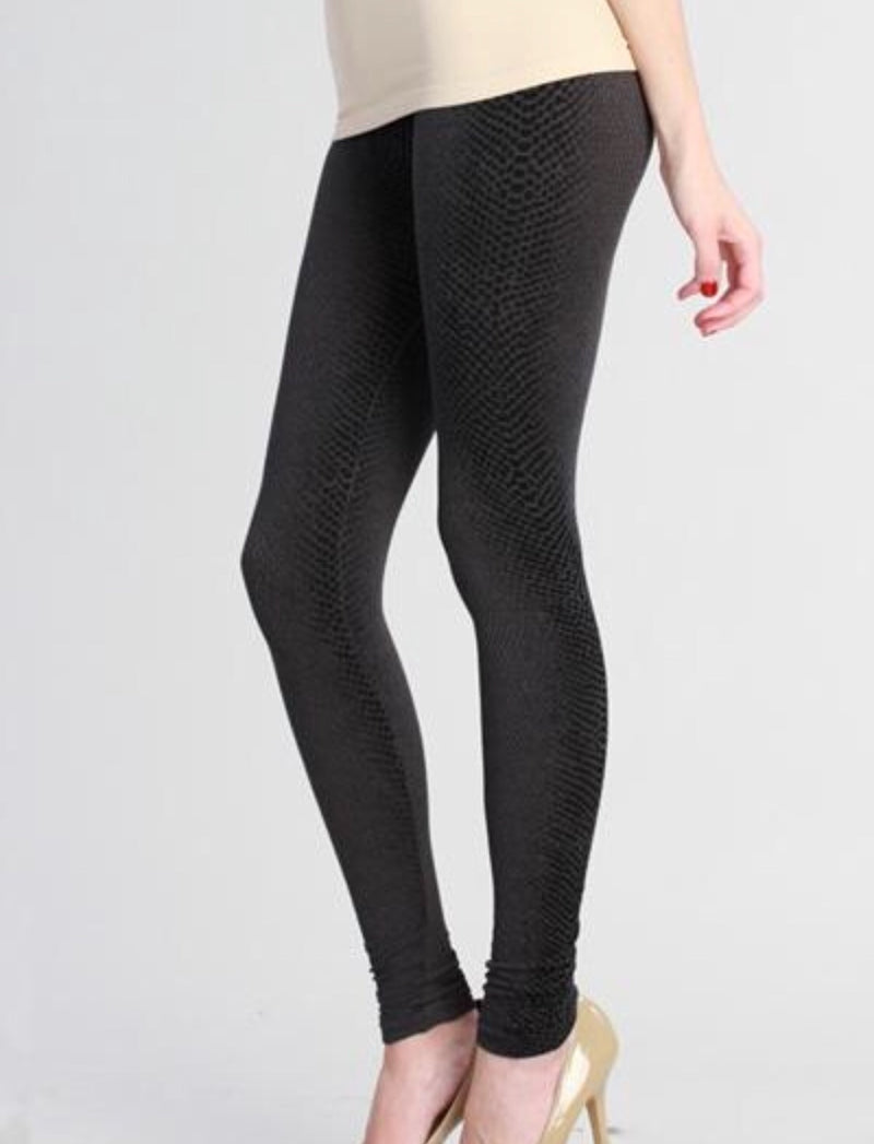 Bria Bella & Co - Embossed Python Ankle Leggings