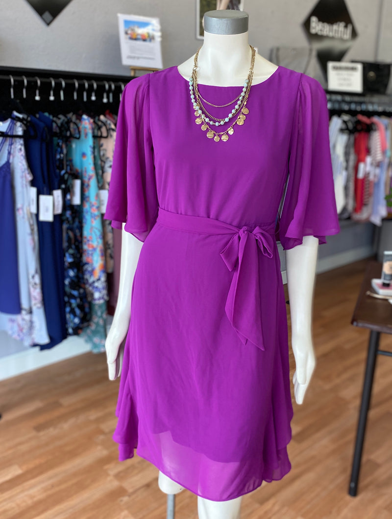 Magenta Flutter Sleeve Dress