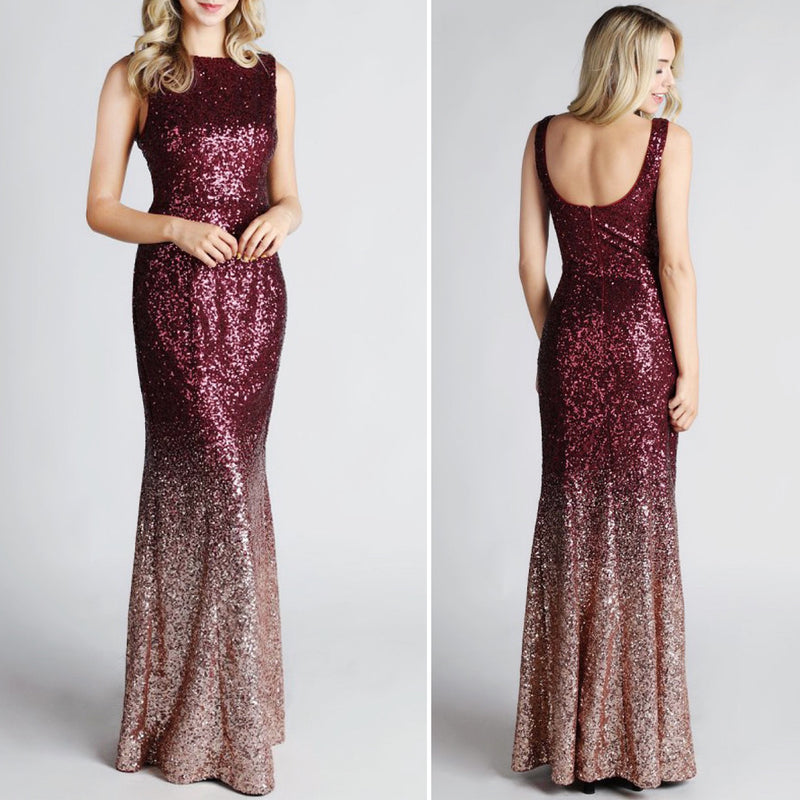Rose Gold Ombré Sequin Gown
