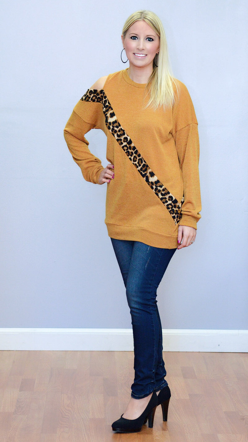Leopard Trim Cutout Sweater