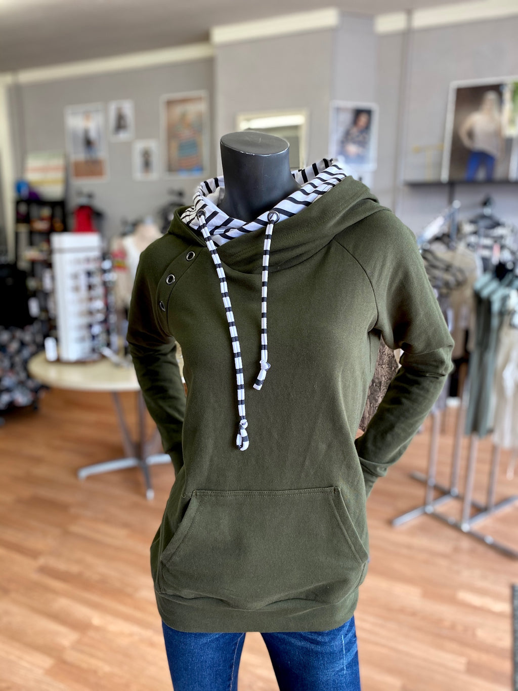 Bria Bella & Co - Adventure Clothes Co. - Olive Hoodie with Stripes