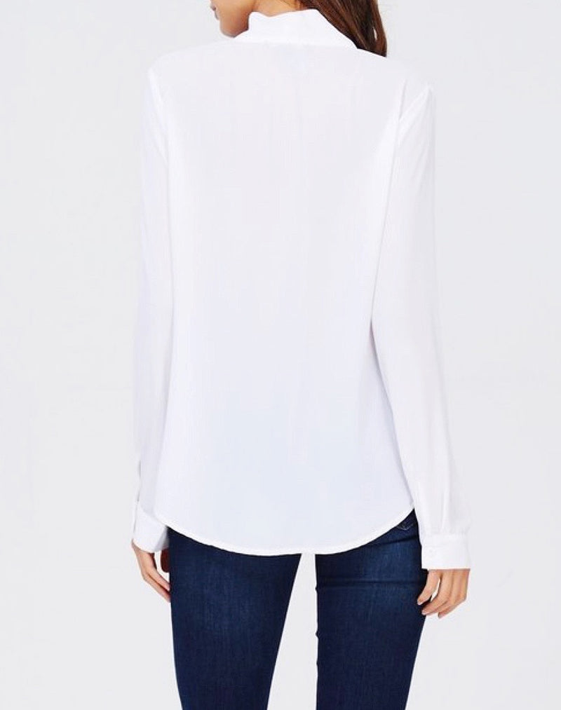 Tie Collar Chiffon Top
