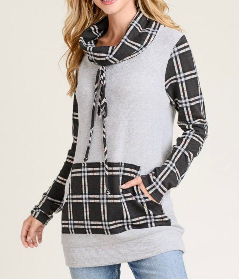 Plaid Cowl Neck Sweater