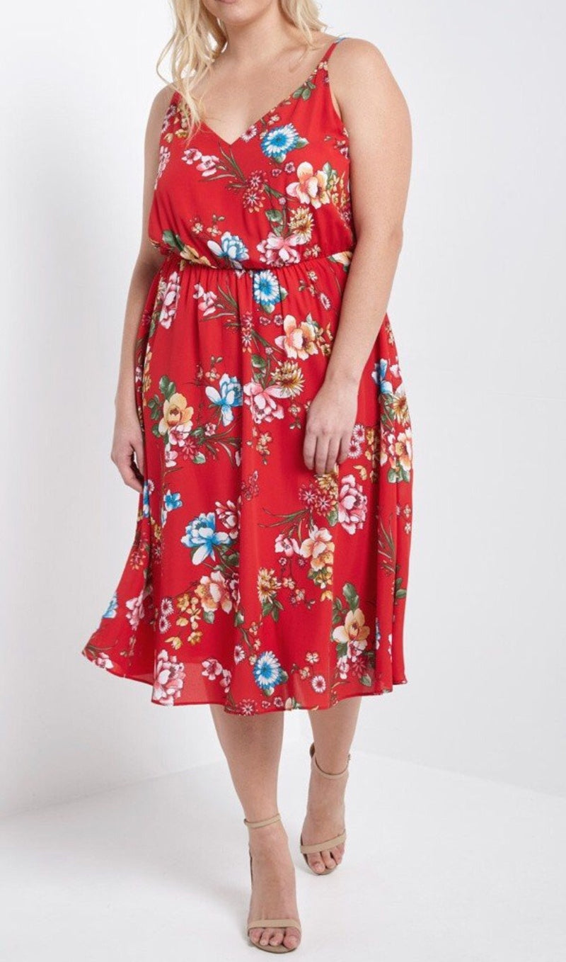 Bria Bella & Co - Red Blossom Midi Dress