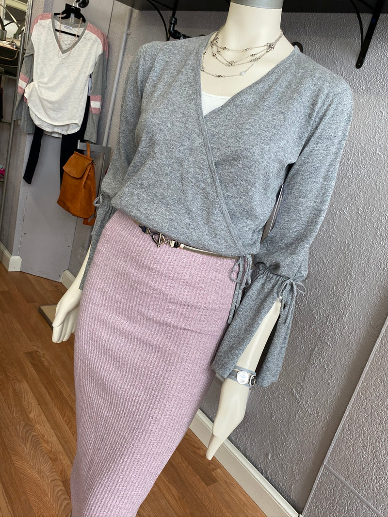 Midi Textured Sweater Skirt