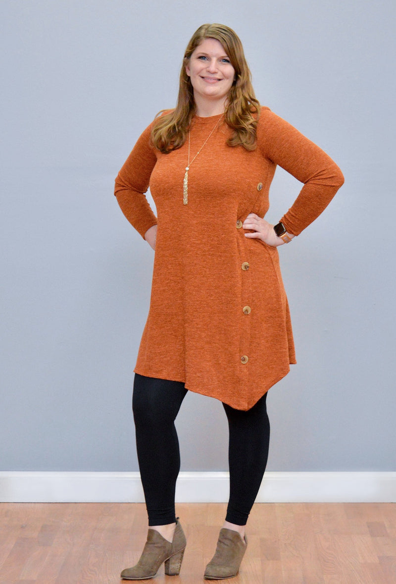 Buttoned Detail Tunic Dress