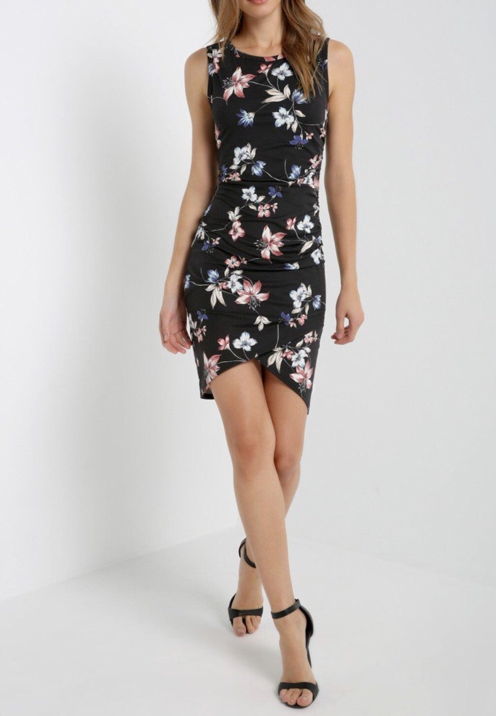 Black-Floral Fitted Tulip Dress