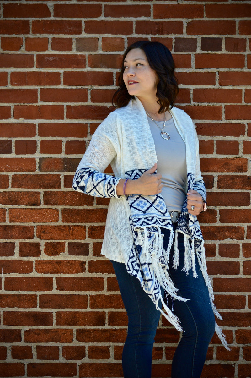 Tassled Open Front Cardigan