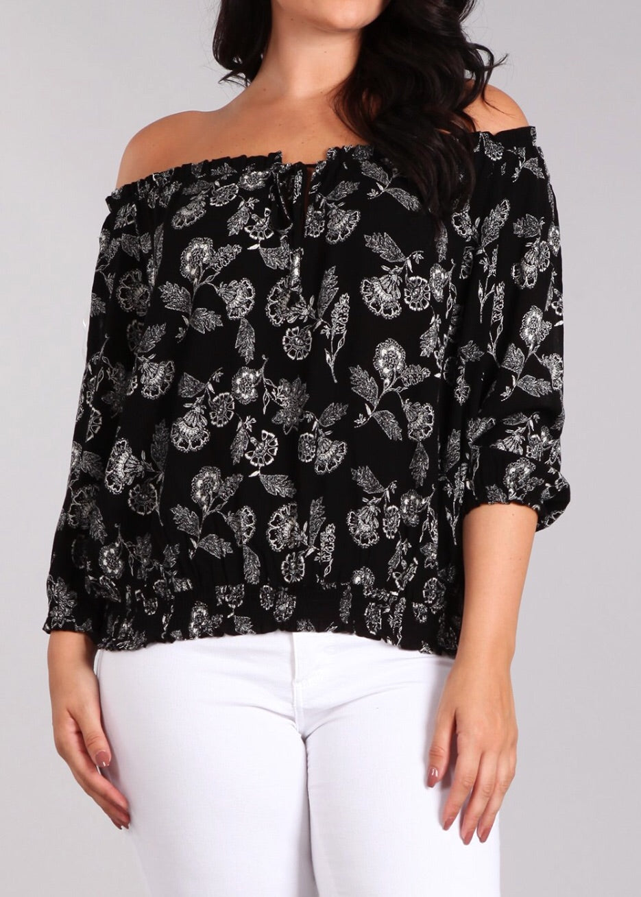 Bria Bella & Co - Black Floral Off-Shoulder