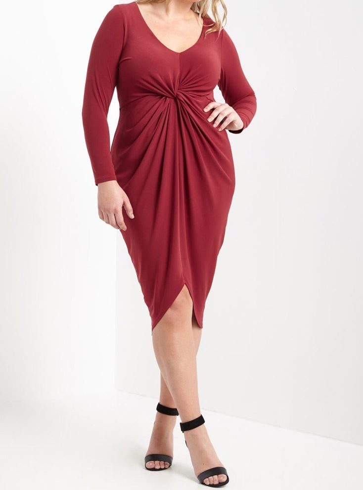 Bria Bella & Co - Dark Ruby Knot Dress