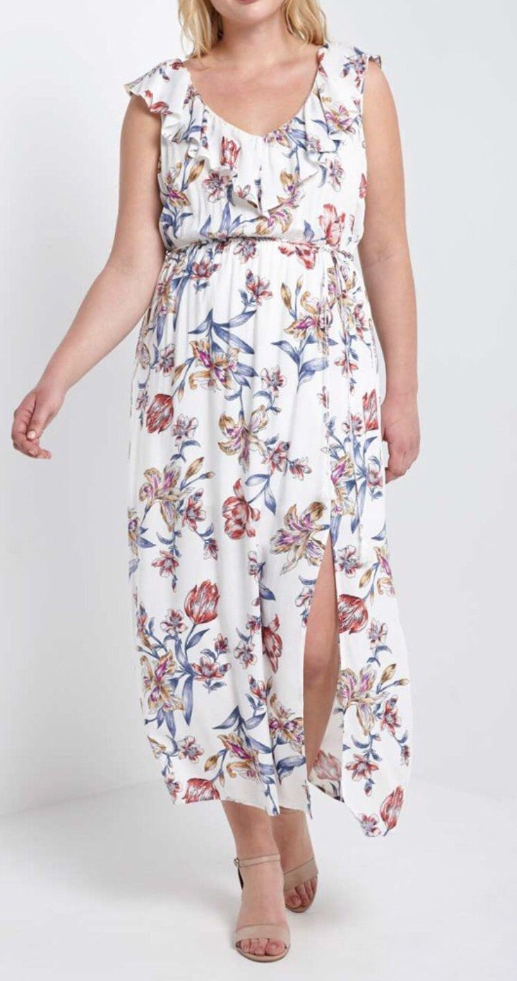 Bria Bella & Co - Flowered Side Slit Maxi Dress