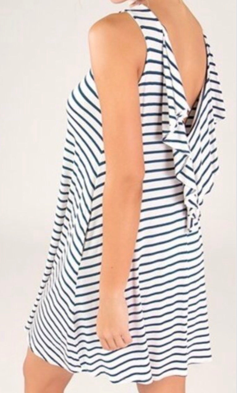 Ruffled V-Back Tunic