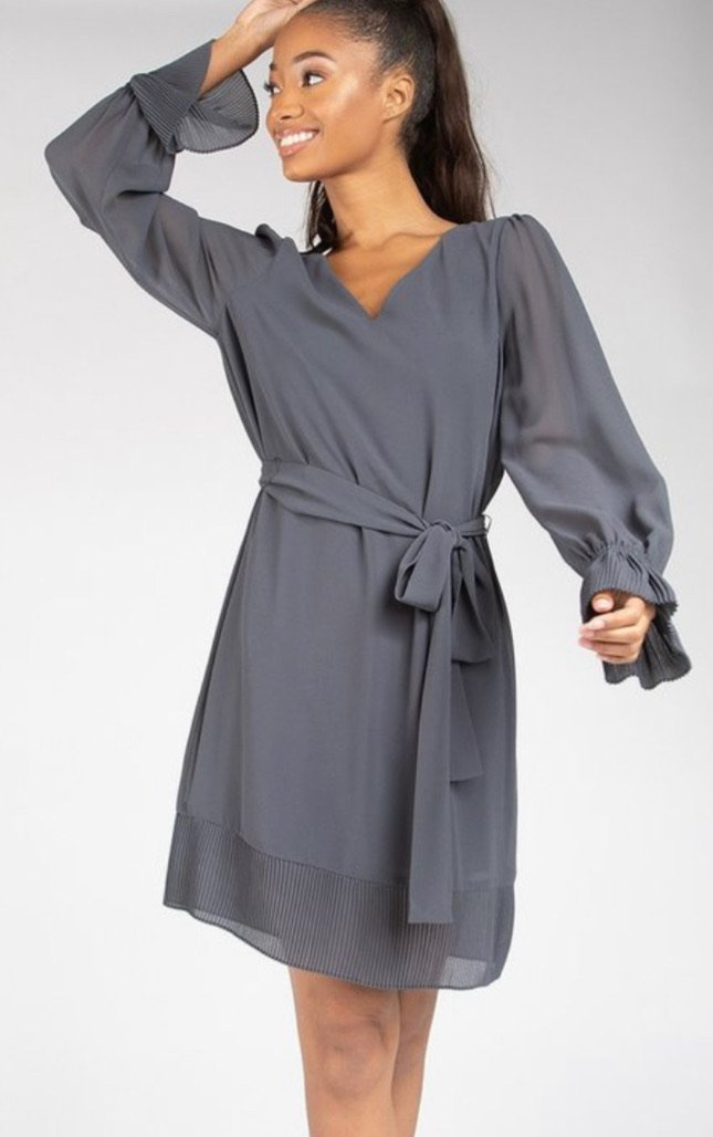 Charcoal Belted Midi Dress
