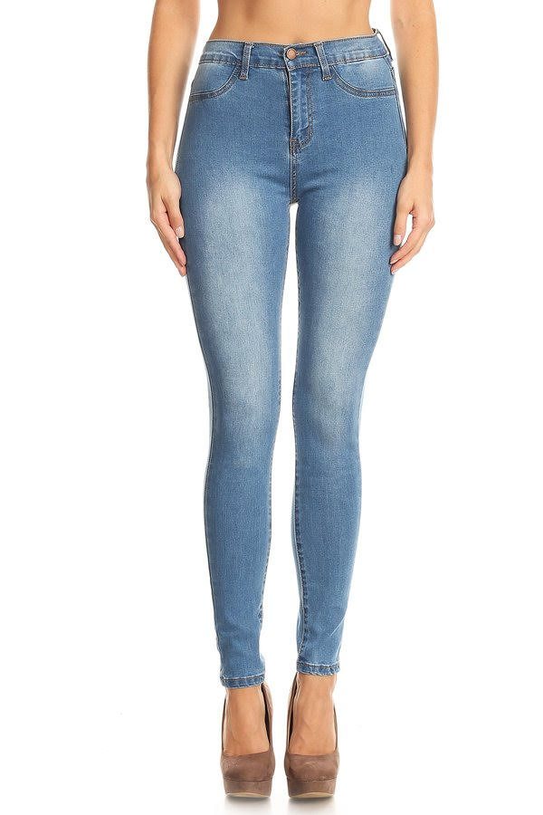 Mid-Wash High Waisted Jeans
