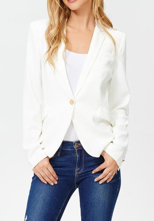 White & Gold Button Blazer