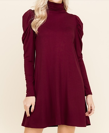 Puff Sleeve Turtle Neck Dress