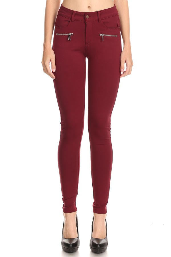 Bria Bella & Co - Burgundy Ponte Pants