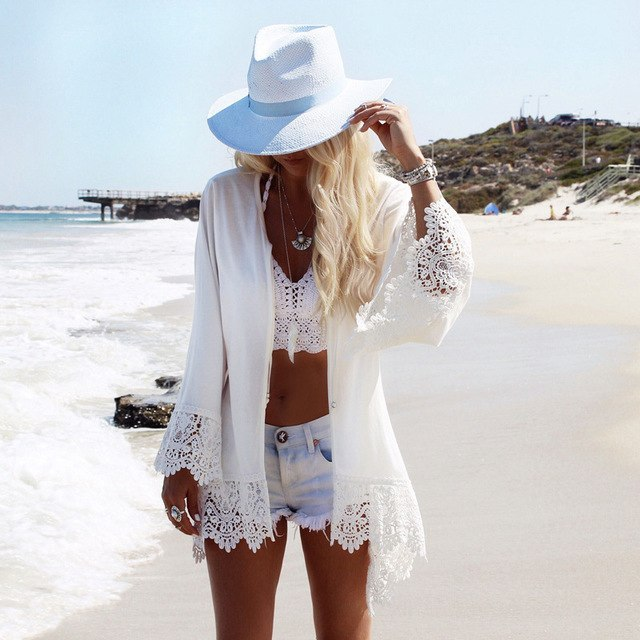 2016 Women Summer Casual Lace Crochet Cardigan Kimono Tops Back Eagle Print Long Sleeve Beach Bikini Cover Up Blusas