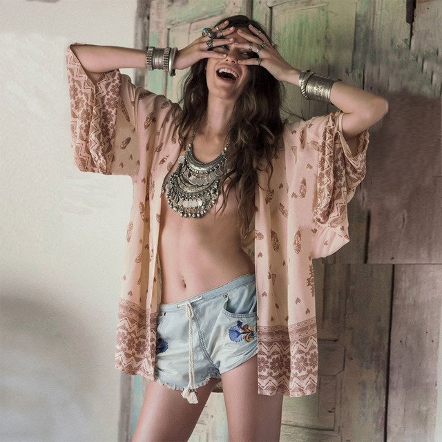 2016 Vintage Women Summer Chiffon Blouse Beach Boho Kimono Cardigan Tau Pattern Long Sleeve Casual Loose Long Beach Cover Up