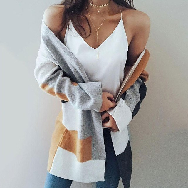2018 Casual Long Knitted Cardigan Autumn Winter Thin Women Sweaters Loose White Pocket Sweater Jacket