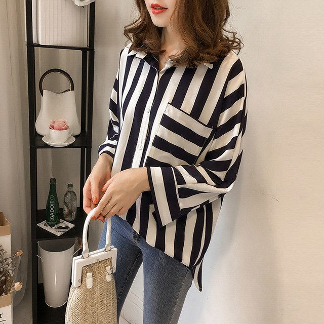 2018 Kimono Tunics Women Blouses Ladies Office Long Sleeve Lace-Up Casual Striped Blouse Plus Size 4Xl Shirt Women Tops Blusas
