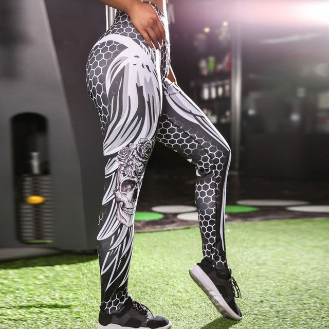 2018 3D Wing Skull Printed Women Honeycomb Leggings Sporting High Waist Pants Stretchy Slim Legging Leggins