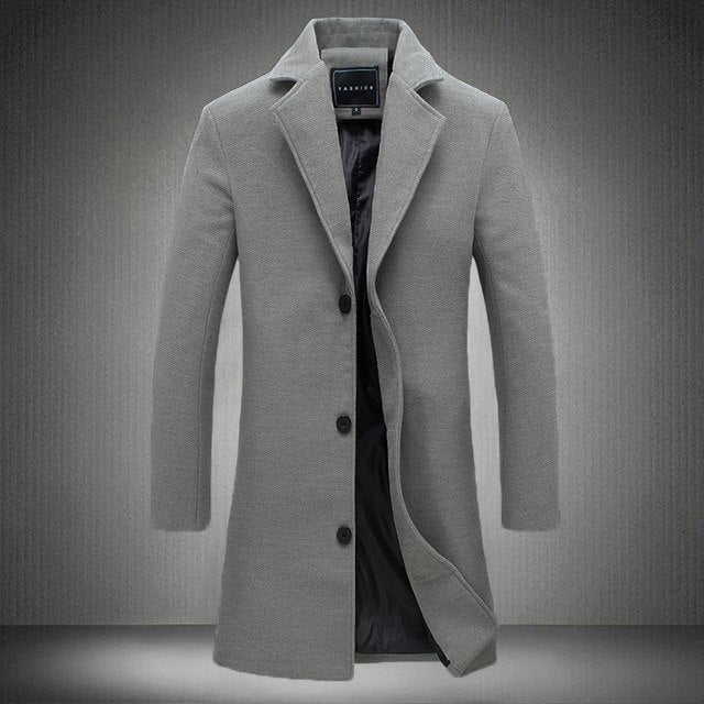 2018 Winter Men Solid Color Single Breasted Long Trench Coat / Men Casual Slim Long Woolen Cloth Coat Large Size 5Xl