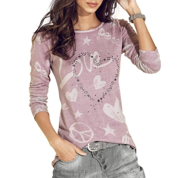 2018 Women'S Long Sleeve Letter Printed Shirt Casual Loose Cotton T-Shirt Drop Shipping May 22