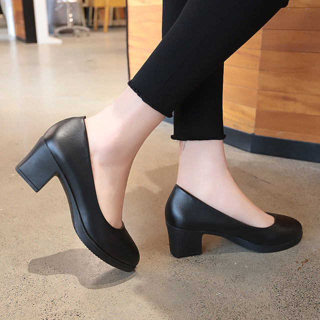 2019 Women Pumps Black Patent Leather Square High Heels Shoes Woman Shallow Wedding Work Dress Shoes Zapatos Mujer