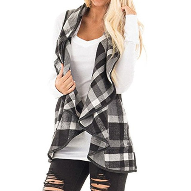 2019 Ladies Vest Sleeveless Turn Down Neck Open Front Jacket Check Plaid Cardigan Sleeveless Jacket Outwear Coat Plus Size