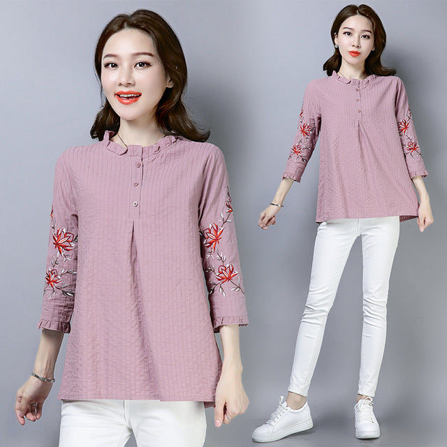 2019 Long Sleeve Ruffles Blouse Women Shirts Floral Embroidery Women Tops Blouses Cotton Linen Plus Size Blusas Mujer Kimono