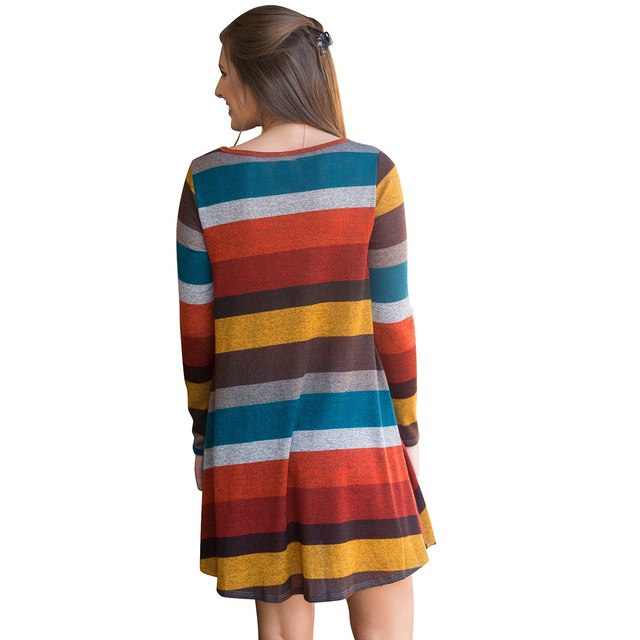 2019 Spring Autumn Women Dress Long Sleeve Multicolor Striped Pocket Loose Casual Mini Knitted Sweater Dress Party Dresses
