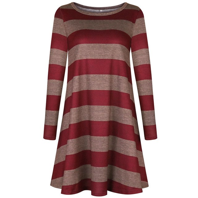 276321575a0 2019 Spring Autumn Women Dress Long Sleeve Multicolor Striped Pocket Loose  Casual Mini Knitted Sweater Dress Party Dresses