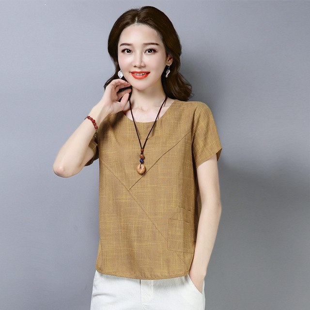 2019 Summer Cotton Linen Shirt Women Blouses Short Sleeve Casual Kimono Tops Blouses Plus Size Shirts Blusas Mujer