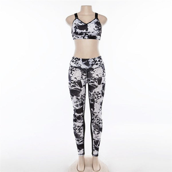 3D Print Marble Graffiti Fitness Set Women Sporting Two Piece Sets Elasticity Skinny Casual Tracksuit Drop Shipping